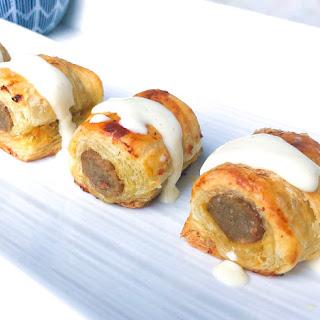 Puff Pastry Sausage Bites with Creamy Dijon Sauce.