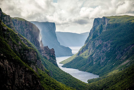 The sweeping landscape of Western Brook Pond Fjord in Gros Morne National Park, western Newfoundland.