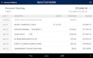 Screenshot of BancFirst Mobile Banking