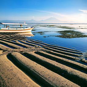 Bali  by Ashok Radhakrishnan - Landscapes Beaches ( sand, bali, sunrise, blue, beach, peace, tranquil, travel, boat, morning )