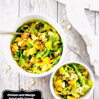 Chicken and Mango Salad with Carrot Ginger Dressing and Sliced Almonds