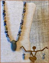 Photo: #193 MISTY MEADOWS ~ ІМЛА НА ЛУГУ Agate pendant, agate, freshwater pearls, silver plate, glass $70/set