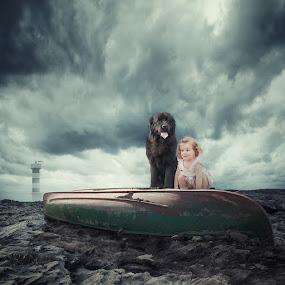 Best friends by Caras Ionut - Digital Art Things ( water, face, tutorials, reflection, ioana, clock, joy, lighthouse, boat, manipulation, smoke, sun, psd, melting, tree, snow, violet, iris, legs, dog, light, photoshop )