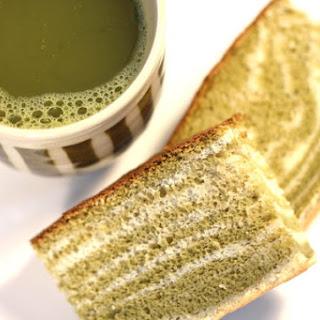 Green Tea Castella (Kasutera) Marble or Zebra Japanese Sponge Cake.