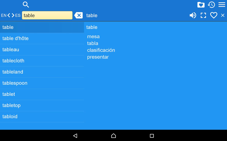 Spanish to english - Spanish English Dictionary Screenshot