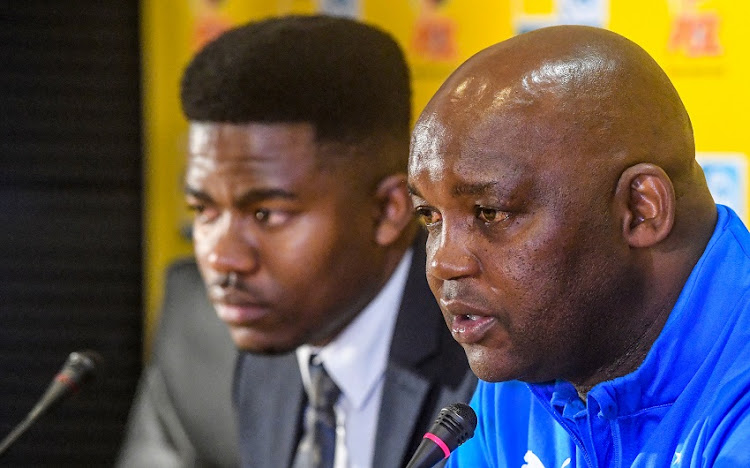 Coach Pitso Mosimane of Mamelodi Sundowns during the Mamelodi Sundowns press conference at PSL Offices on August 30, 2018 in Johannesburg, South Africa.