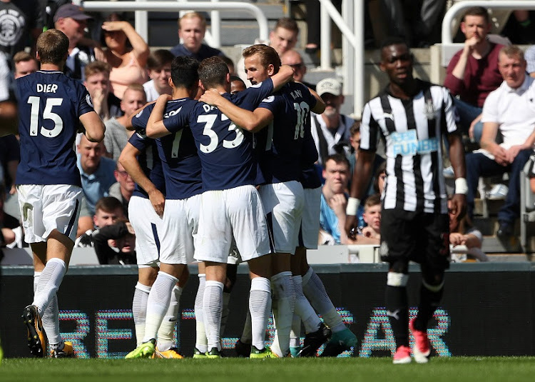 August 13, 2017   Tottenham's Dele Alli celebrates scoring their first goal with team mates.