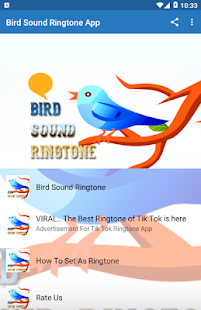 Bird Sound Ringtone App Screenshot