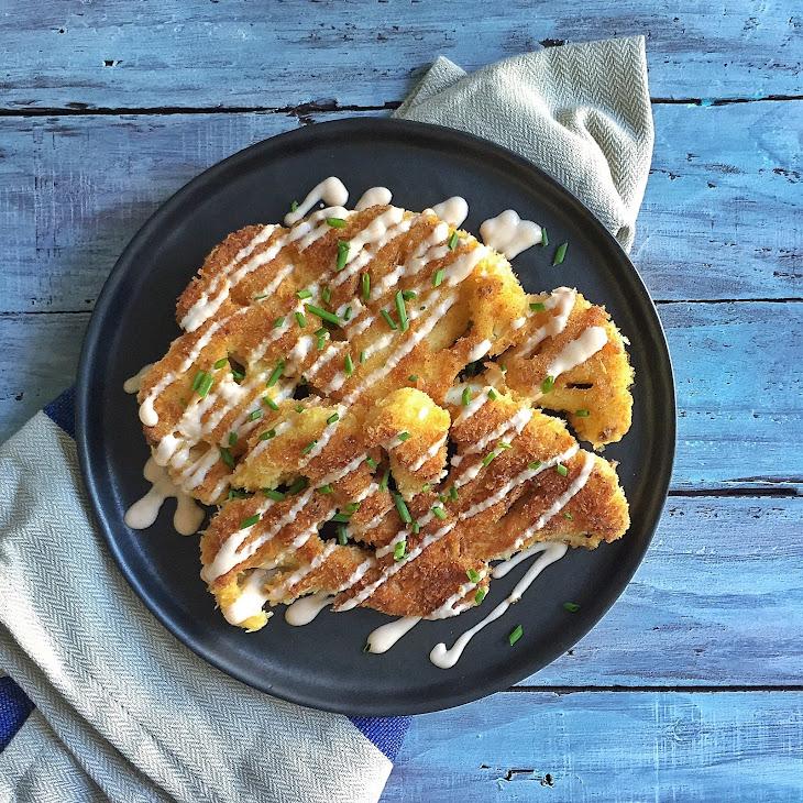 Panko Crusted Cauliflower Steaks with Greek Yogurt & Sriracha Sauce Recipe