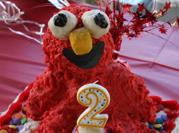 Elmo Finished, Made Out Of Rice Krispie Treats Molded And Iced It Was A Success At My Granddaughter's Birthday!