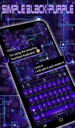 Download Simple Black Purple Keyboard Theme MOD APK 2