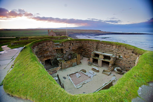 The neolithic village of Skara Brae in the town of Sandwick in the Orkney district of Scotland.