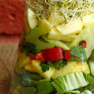 Ten Layer Salad with Fresh Ginger Dressing.