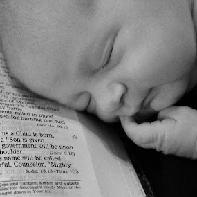 Isaiah 9:6 by Stacey Fields - Babies & Children Babies ( black and white, isaiah 9:6, bible, baby boy, newborn )