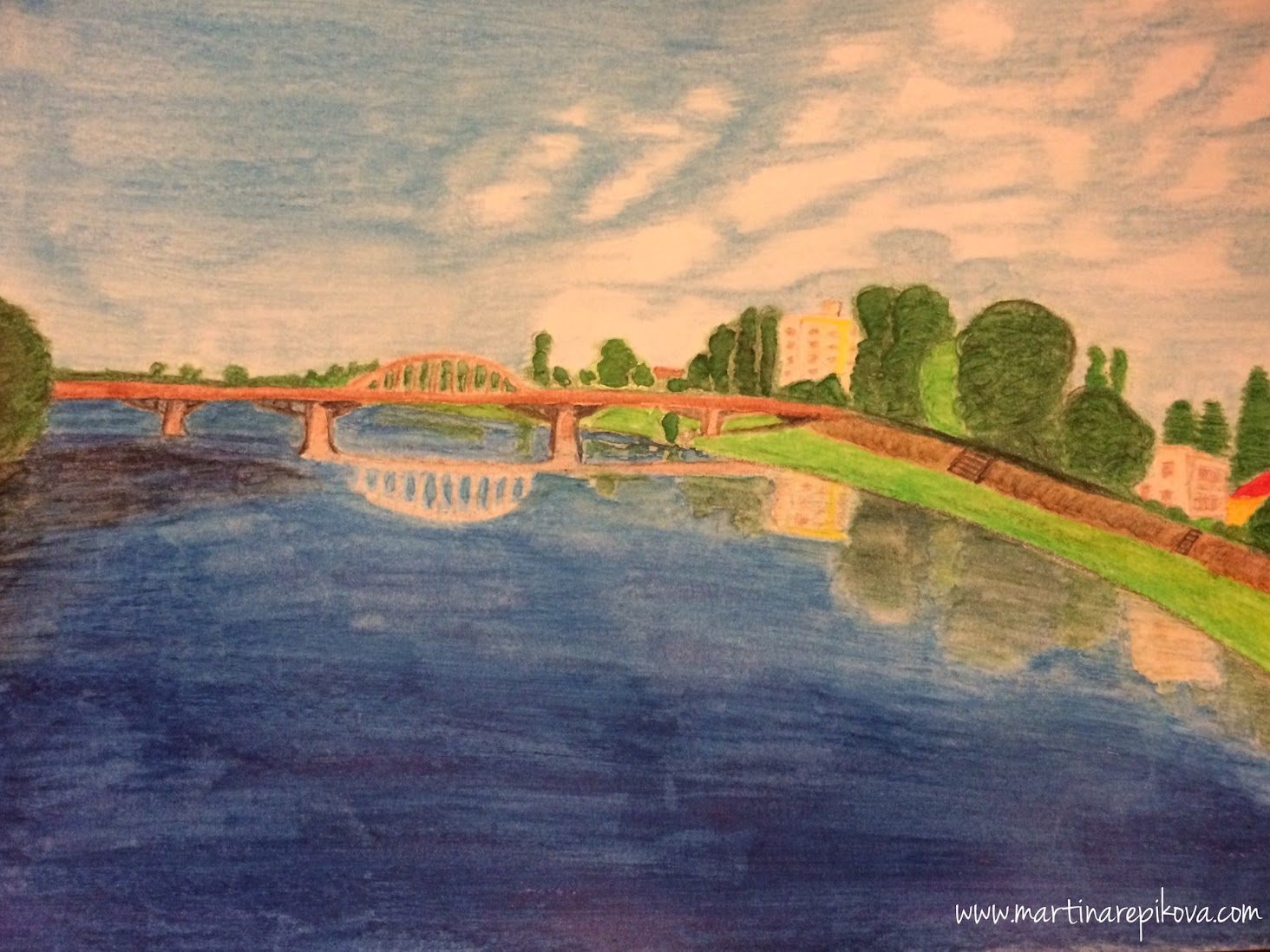 Piestany, Slovakia (a watercolour pencil drawing)