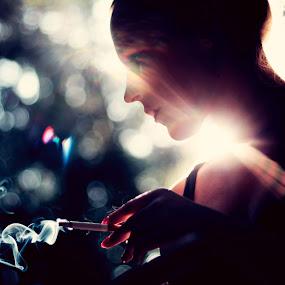 shine by Andris Barbans - People Fine Art ( cigarette, girl, shine, bokeh, smoke, sun )