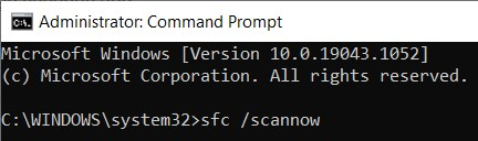 System File Checker command in the Command Prompt window