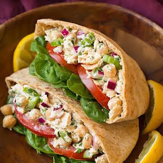 Tuna Chickpea Pita Pocket Sandwiches.