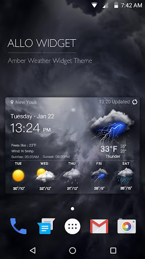 Clock Weather Widget - Storm