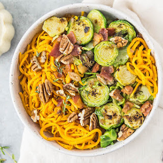 Brussels Sprouts & Sweet Potato Noodle Bowls {with Dijon-Maple Vinaigrette}