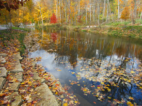 Photo: Leaf-colored stone steps leading into an autumn pond at Hills and Dales Metropark in Dayton, Ohio.