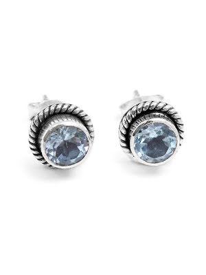 Blå topas, stiftörhänge silver med filigran