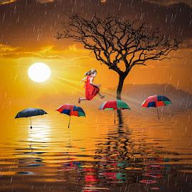 The Brolly Hop by Andy Kerr - Digital Art Abstract ( tree, jumping, umbrella, sea, sunrise, surreal, hop, island )