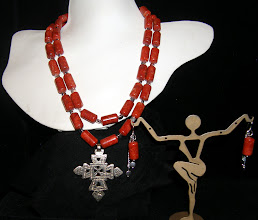Photo: <BEREHYNYA> {Great Goddess Protectress} unique one-of-a-kind statement jewellery by Luba Bilash ART & ADORNMENT  #100 - SOURCE OF LIGHT ~ ДЖЕРЕЛО СВІТЛА - silver Eritrean cross pendant; coral; SS $160/set SOLD/ПРОДАНИЙ
