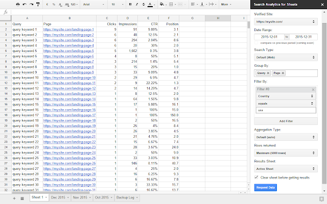 Search Analytics for Sheets - Google Sheets add-on