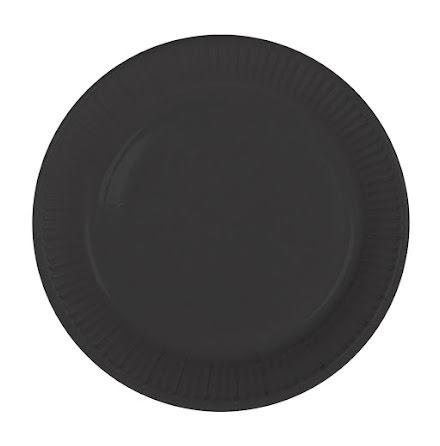 Tallrik, svart, 8st.