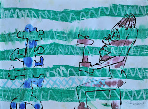 """Photo: Coco Mongo Tribesman at Work on Awkward Day, 2011 - Acrylic Ink and Oil Pastel on Paper - 18"""" X 24"""""""