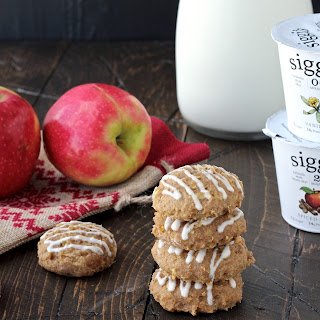 Spiced Apple Skyr Quinoa Cookies with Vanilla Maple Drizzle