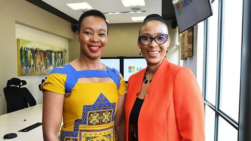Minister of communications Stella Ndabeni-Abrahams with Microsoft SA MD Lillian Barnard.