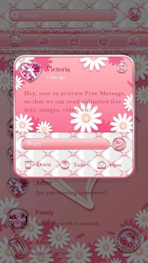 (FREE) GO SMS PINK LOVE THEME- screenshot