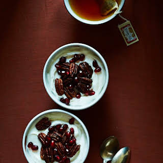 Spiced Candied Pecans & Pomegranate Yogurt Cups.