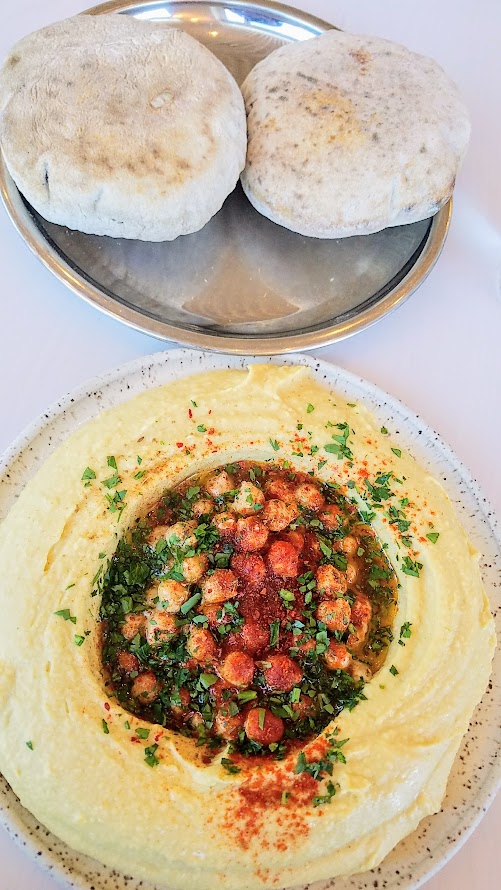 Brunch at Tusk in Portland, hummus and pita bread