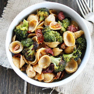 Creamy Goat Cheese Pasta with Roasted Broccoli and Sun-Dried Tomatoes.