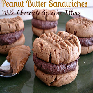Peanut Butter Sandwiches With Chocolate Ganache Filling.