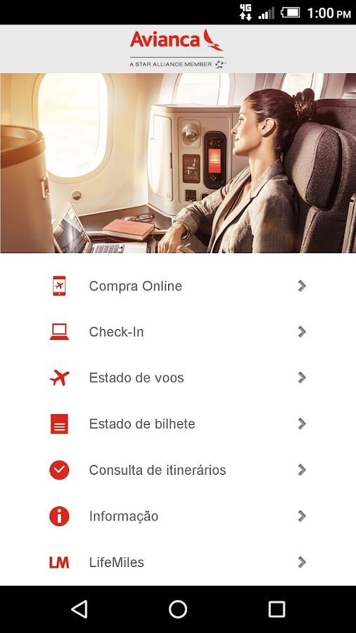 Avianca: captura de tela
