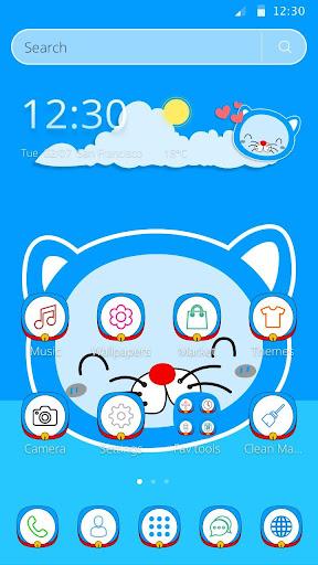Blue Cat Cartoon launcher Theme for PC