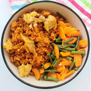 Jollof With Tuna, Carrots And Green Beans.