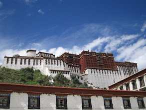 Photo: The day I left, I realized I didn't have a photo of the front of the Potala Palace, so I raced off on a bicycle to get this one.