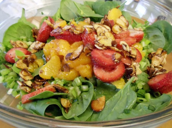 SERVE:  Place spinach in a bowl; add the celery mixture, Mandarin oranges and...