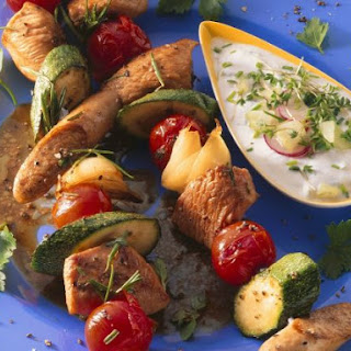Vegetable, Turkey and Sausage Kebabs with Yogurt Dip