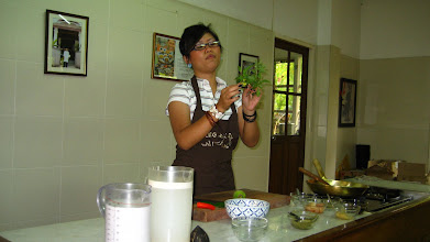 Photo: Peem holding some Thai (sweet) basil