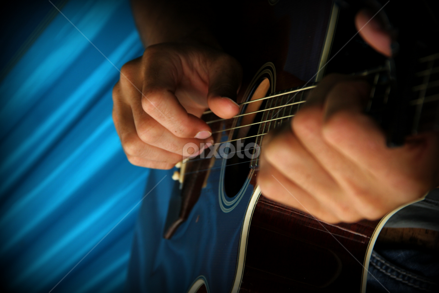 Guitar by Freda Nichols - Artistic Objects Musical Instruments ( music, playing, blue, hands, guitar, instrument, musicians, potrait of people, photography , , vertical lines, pwc )