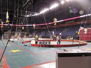 Photo: Setting up fhe circus floor