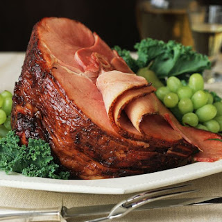 Baked Ham With Maple and Brown Sugar Glaze.