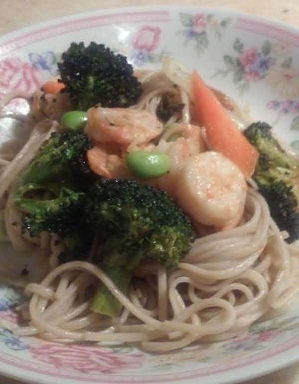 Soba Noodles With Shrimp And Roasted Vegetables. Recipe