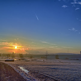 Icecold Dawn by Marco Bertamé - Landscapes Sunsets & Sunrises ( sky, sunrise, icecold, blue, winter, dawn )